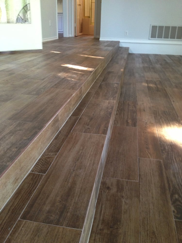 Wood look porcelain tile long steps yelp - Stairs with tile and wood ...
