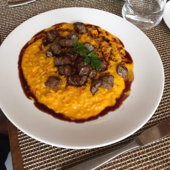 ... New York, NY, United States. Saffron Risotto with porcini mushrooms