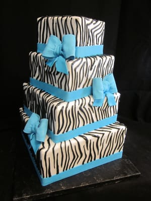 Sublime Cake Design Redding Ca : Zebra Print Wedding Cake with Turquoise Fondant Bows Yelp