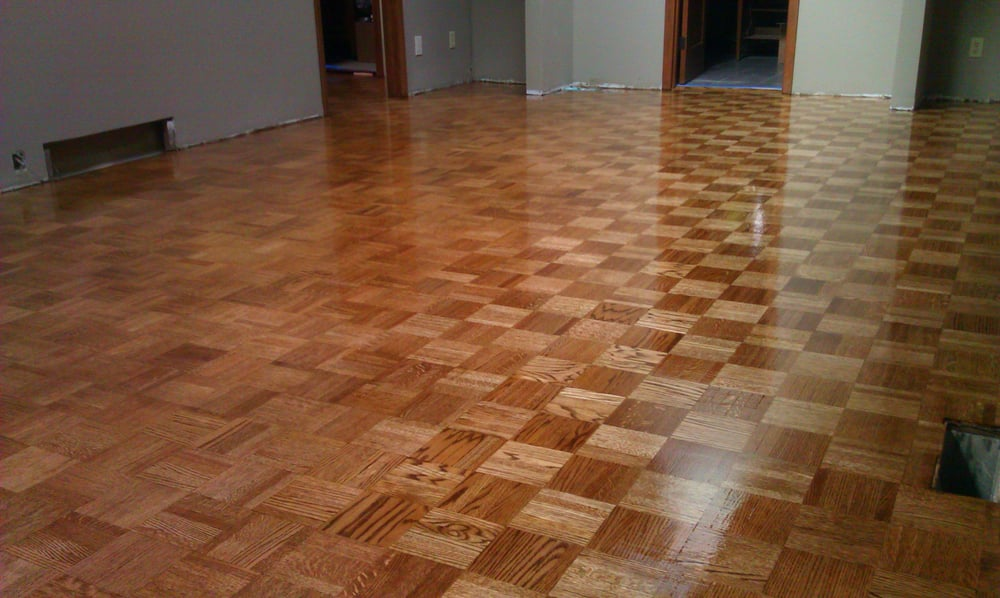 Unit block parquet oak flooring glued down stained nutmeg for Wood floor knocking block