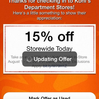 Does kohls take coupons on your phone