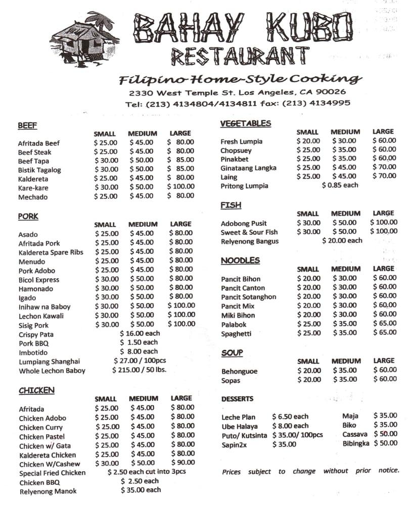 Bahay Kubo Menu Bahay Kubo Restaurant Los