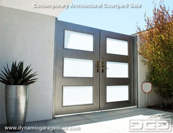 Modern Courtyard Gates With Chrome Handles White Laminate