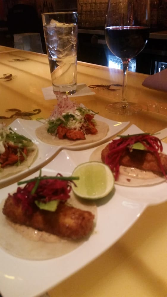 Fish and chicken tacos during happy hour 5 each plate for Happy fish and chicken