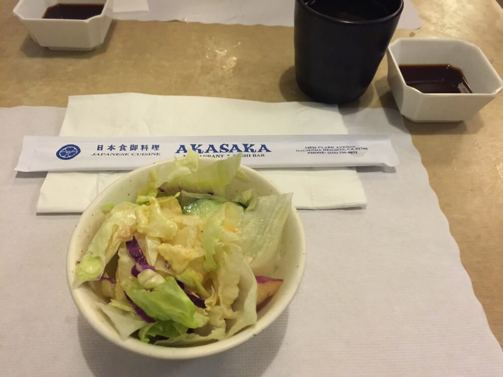 The salad they always give you before your order arrives for Akasaka japanese cuisine