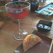 Japanese cherry manhattan and taquitos and sashimi