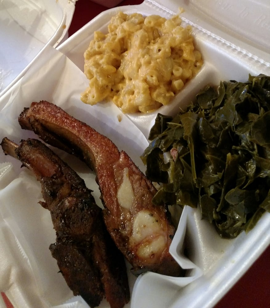 Blaze House BBQ & Soul Food - Aurora, CO, United States. Double rock combo. 2 ribs mac &cheese and greens.