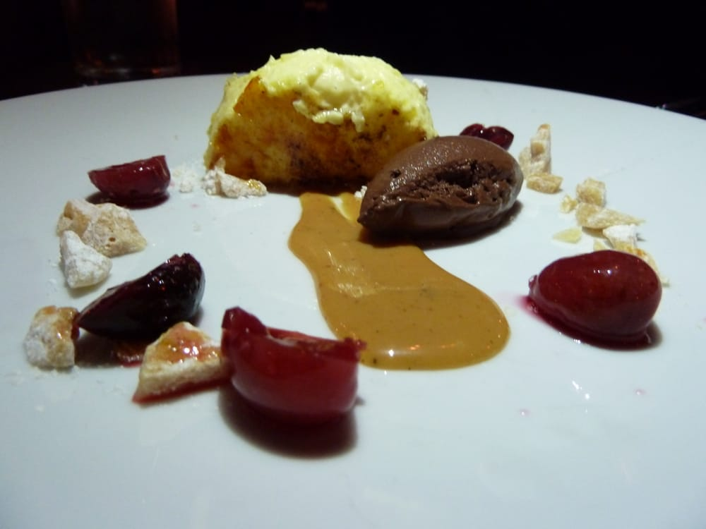 States. Chocolate & Sassafras (chocolate-cardamom sorbet, creme brulee ...