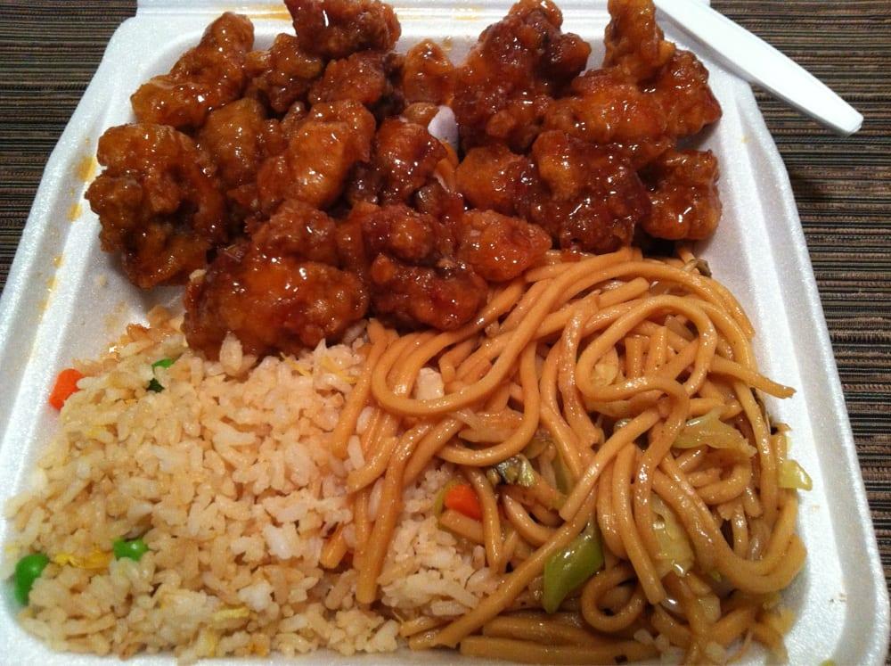 orange chicken lo mein and rice yelp