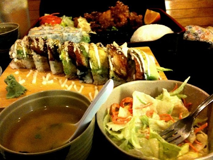 Miso soup salad dream roll sesame chicken california for Naked fish hayward