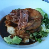 Roast Guinea with mash and greens