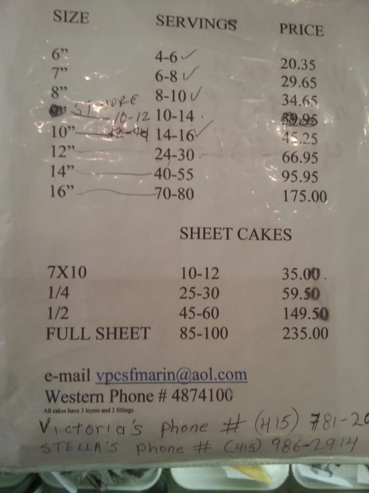 Sheet Cake Prices Price Of 1 2 Sheet Doesn T Equal Twice