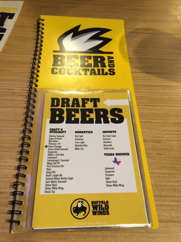 Buffalo (TX) United States  city pictures gallery : Buffalo Wild Wings Dallas, TX, United States. Beer and Cocktail menu