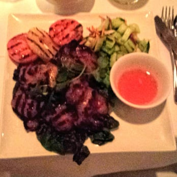 ... chili sauce. Delicious cucumber salad and grilled pineapple as well