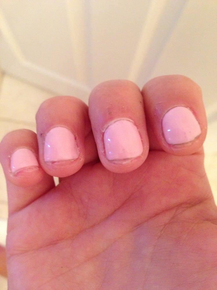 Alamode Nail & Spa - Gel manicure. Nails were cut so short that nail