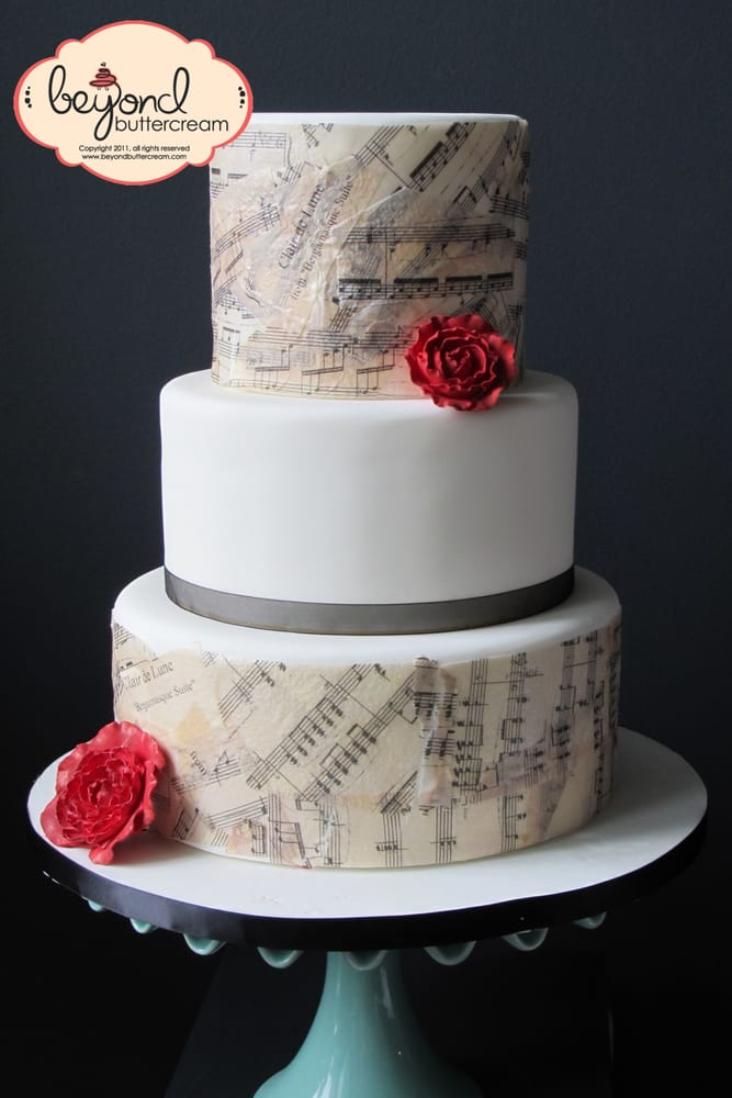 Cake covered in edible rice paper printed with sheet music ...