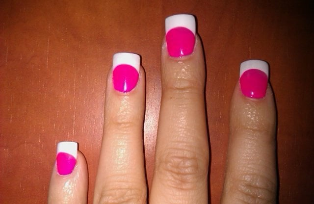 Hot Pink French Tip Acrylic Nails French White Tip With Hot Pink