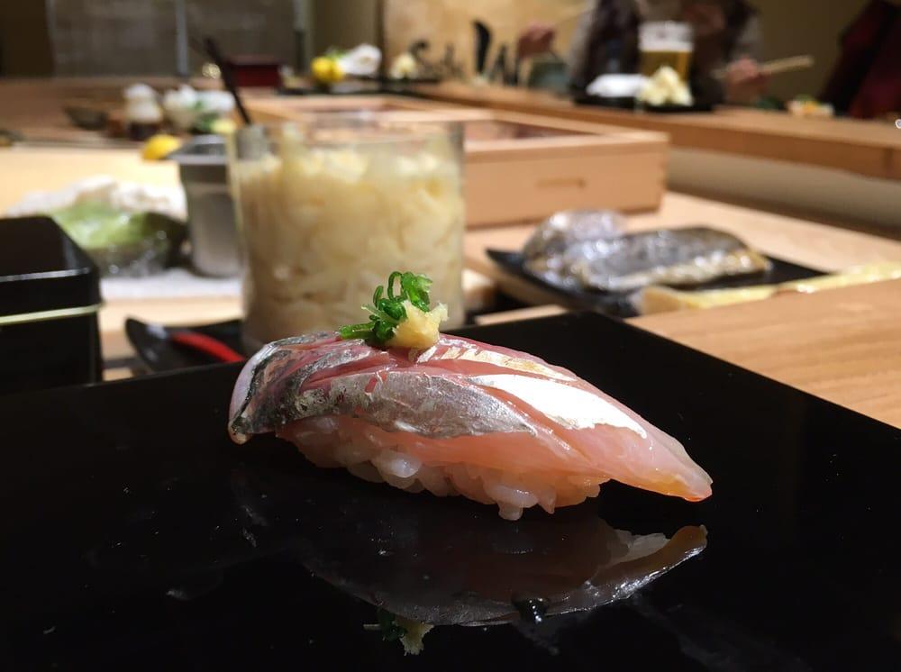 Omakase - Aji. Such pretty black plate! Fish were all very ...