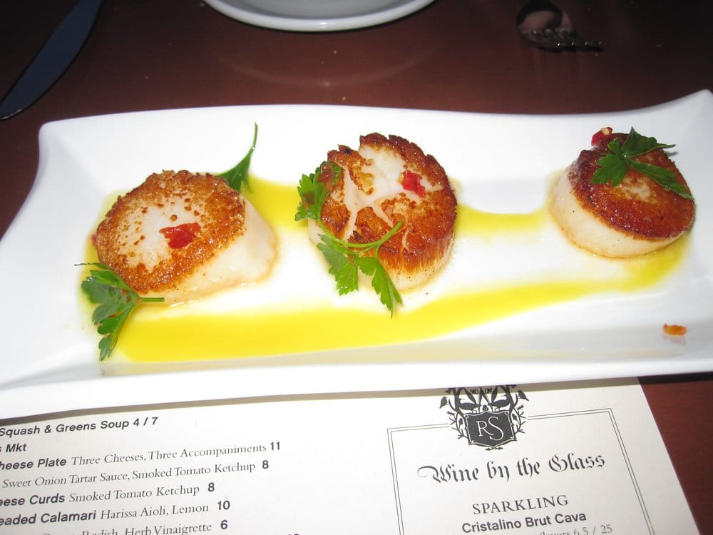... United States. Seared Scallops - 3 scallops, mango puree, chili sauce