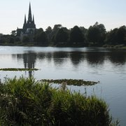 Lichfield Cathedral towering over the…