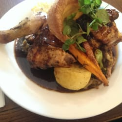 Half chicken Sunday roast with duck fat…