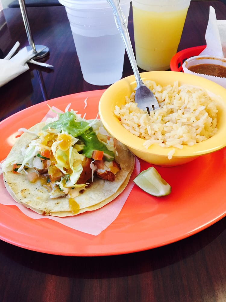 Halibut fish taco with a side of rice yelp for Sides for fish tacos