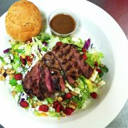 Sail Away Cafe - Afton, MN, United States. Blue cheese steak salad. Grass-fed locally raised sirloin. Yum.