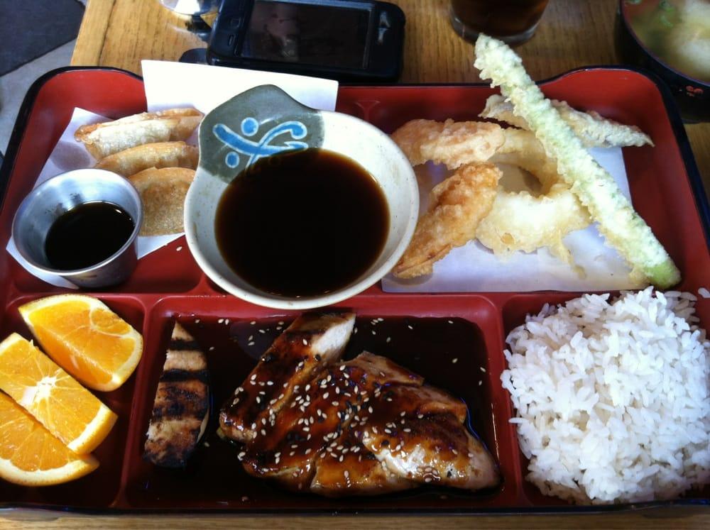 bento box lunch gyoza tempura orange slices chicken teriyaki white. Black Bedroom Furniture Sets. Home Design Ideas
