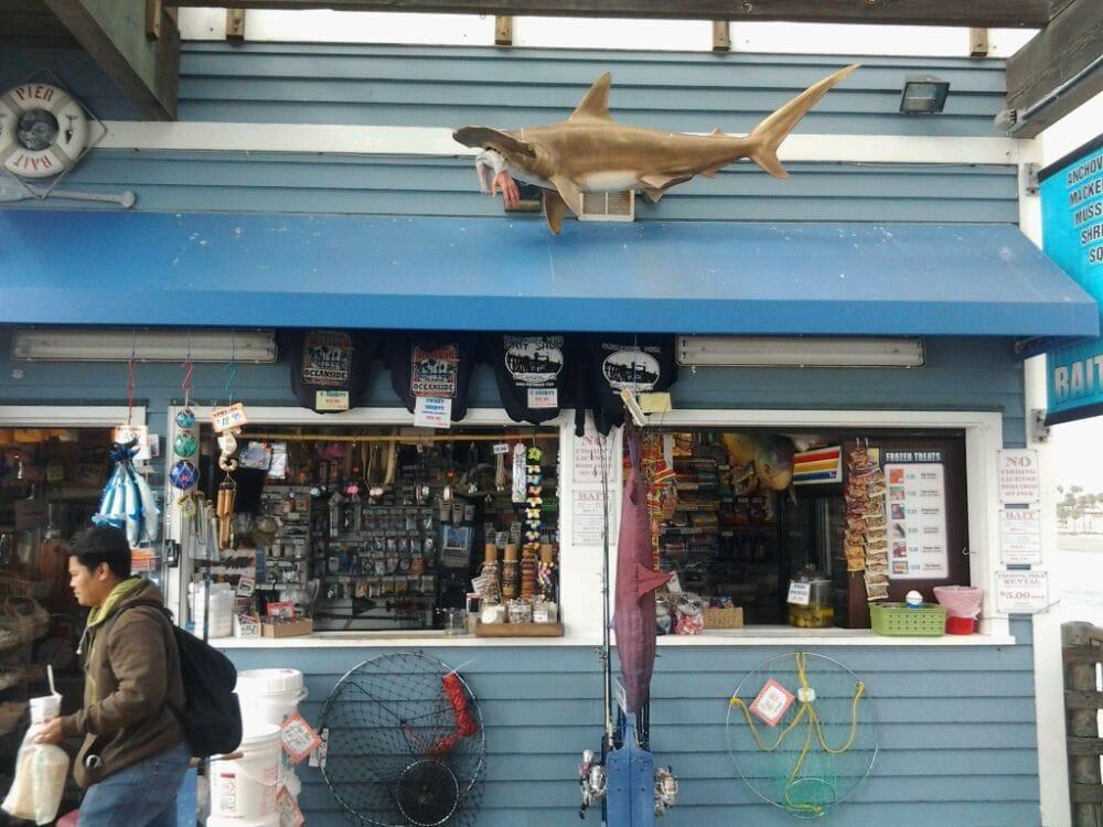 Oceanside pier baitshop fishing pole rentals full bait for Fishing bait stores near me