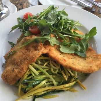 Chicken Milanese with spiral squash and zucchini topped with an ...