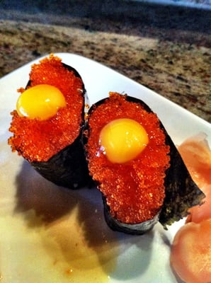 Flying fish roe with quail egg ok but prefer spicy for Flying fish egg