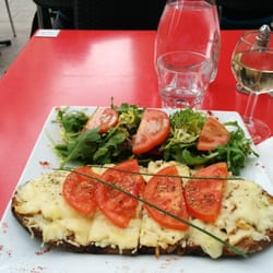 Bar des 13 coins - Marseille, France. Slice of bread with chicken, cheese and tomatoes.