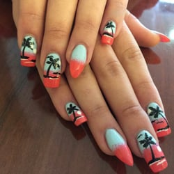 Gel Nails - Tampa, FL, United States. Tropical theme vacation nails