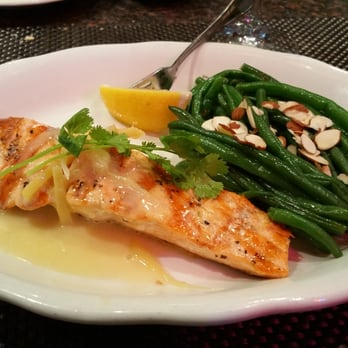 ... topped with ginger butter and slivers served with almond green beans