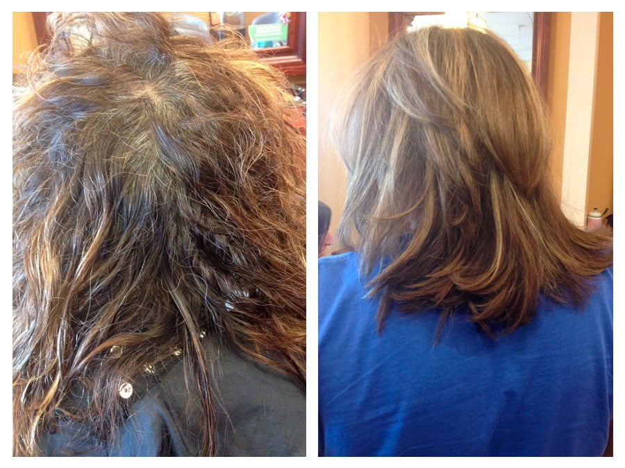 States before and after cover gray and highlights and hair cut by luz