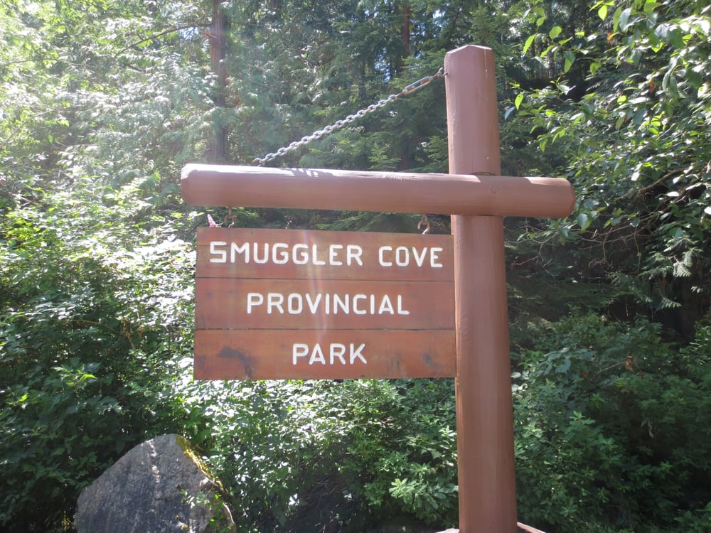 Smuggler Cove Provincial Park Smuggler Cove Marine Provincial Park Entrance Sign of The Trail Halfmoon