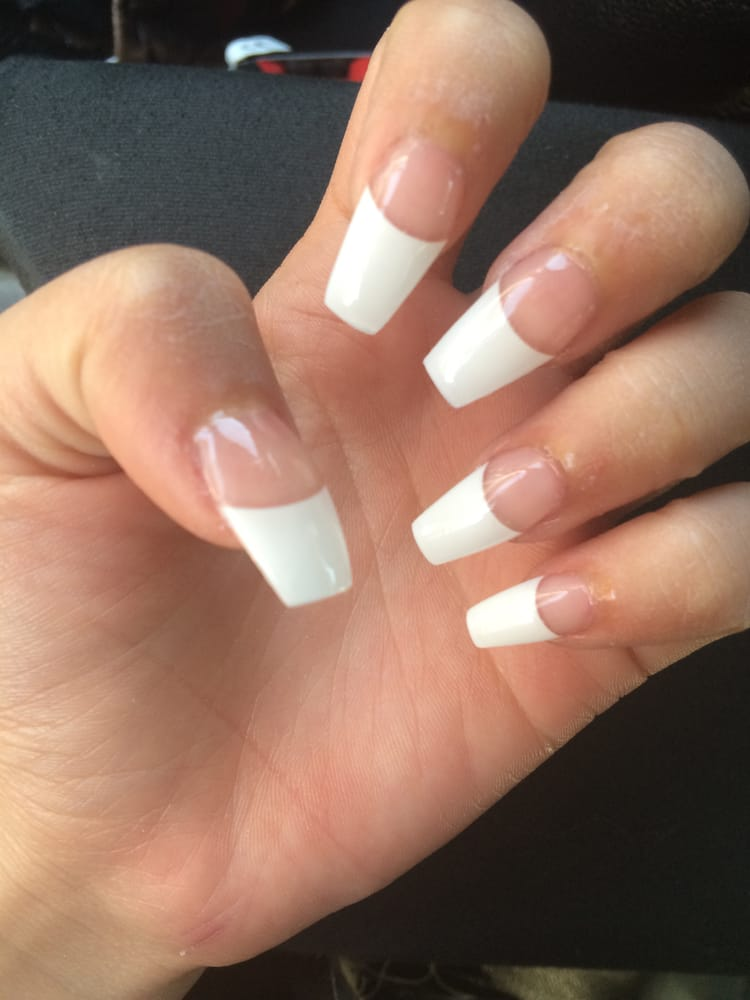 French tip coffin nails french tip coffin nails
