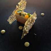 Le Saint James - Bouliac, Gironde, France. Foie gras terrine, cream corn, orange, and popcorn