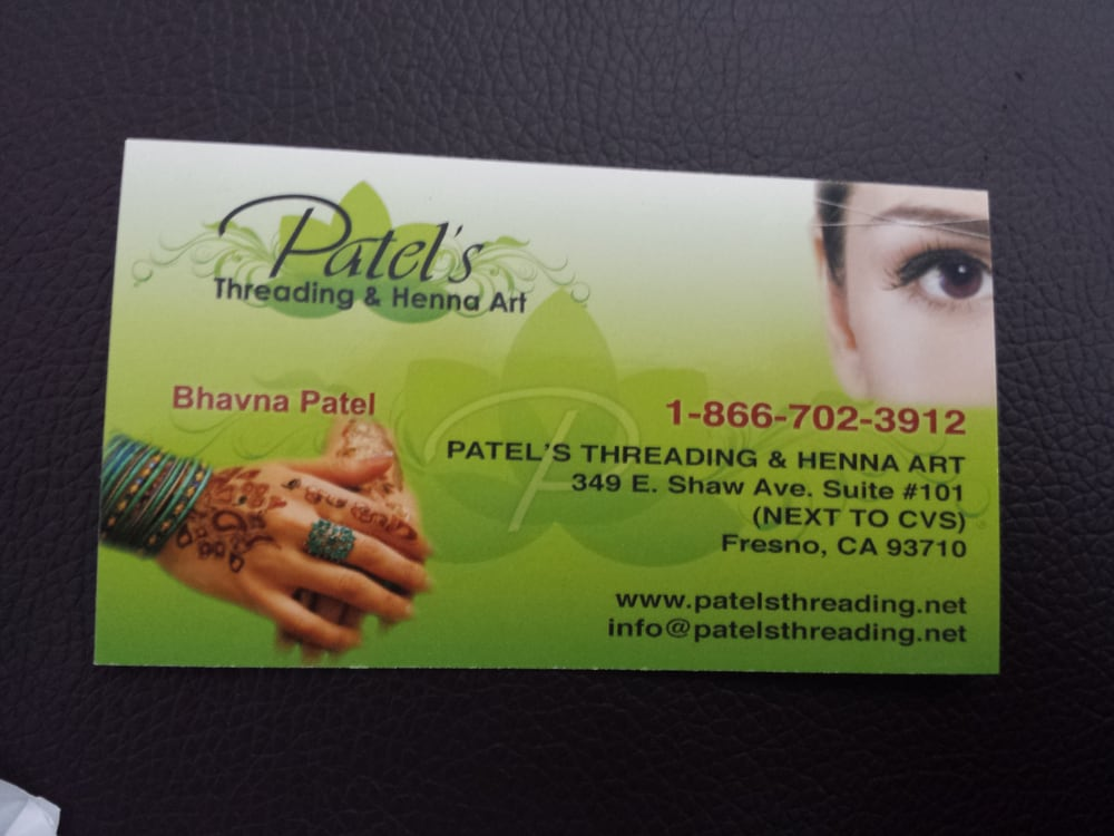 Patels threading henna art hair removal fresno ca for Business cards fresno ca