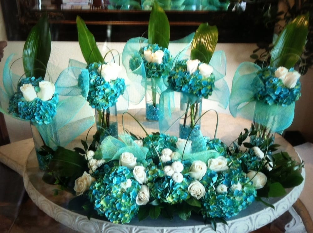 Our Beautiful Mint And Teal Wedding Centerpieces Yelp