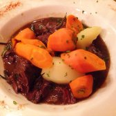 Beef bourguignon (beef stew). Delicious, the gravy was so tasty, the beef melts in your mouth, and the veggies were perfect!