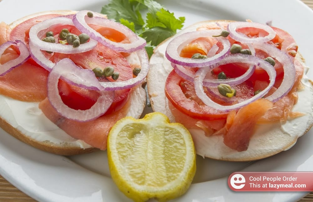 Nova Lox Open Face Bagel Sandwich Catering- Order this dish online at ...