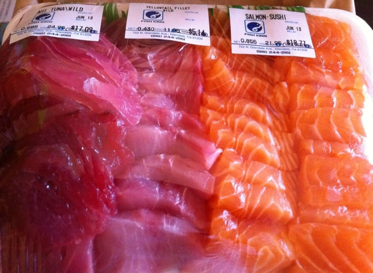 assorted sushi grade fish ahi tuna local yellow tail