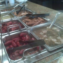 T2 Filipino Fusion - Two of three steam tray sections, see the Sinigang and Longanisa - National City, CA, Vereinigte Staaten