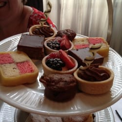 Sample of cakes from Champagne afternoon tea