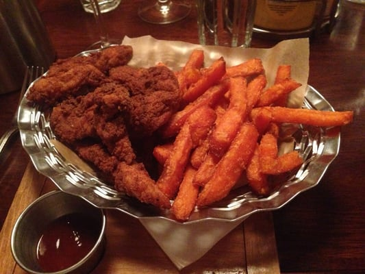 Southern fried chicken and sweet potato fries