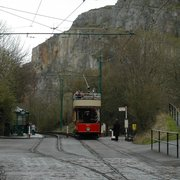 tram on its way with a view of the…