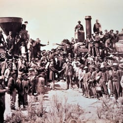 California State Railroad Museum - Photo of the very historical event, joining of the intercontential railroad. - Sacramento, CA, Vereinigte Staaten
