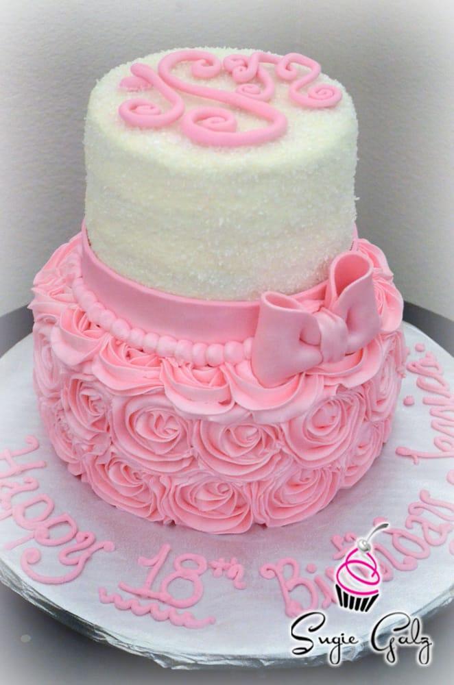 Birthday Cake Ideas Buttercream : 18th Birthday, Pretty in Pink Buttercream Roses Cake in ...