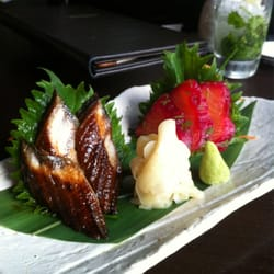 Unagi and salmon gravadlax sashimi